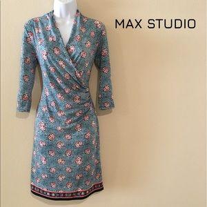 Max Studio Faux Wrap Knit Dress